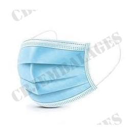 masque chirurgical jetable 3 plis bleu blanc (vendu par 50)