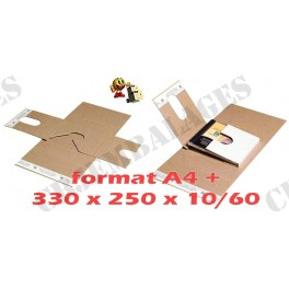 Boite étui standard fermeture adhésif pour livre, BD dimensions 330 x 250 x 60/10 mm (x1)