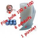 Rouleau Bulle 100 cm x 100ML + 6 adhésifs + 1 devidoir